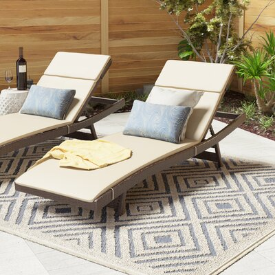 Cara Outdoor Chaise Lounge Cushion (Set of 2) Color: Textured Beige
