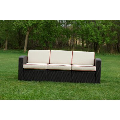 Loggins Patio Sofa with Cushions Fabric: Ivory