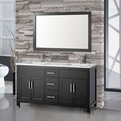 Denault 60 Double Bathroom Vanity Set Base Finish: Espresso