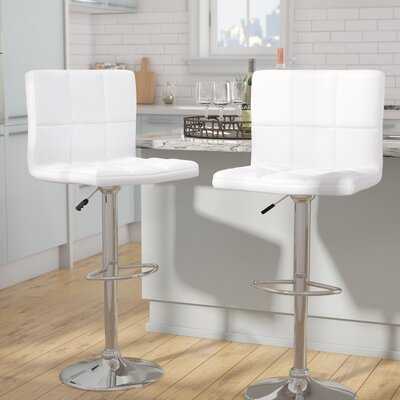 Sandidge Adjustable Height Swivel Bar Stool Upholstery: White