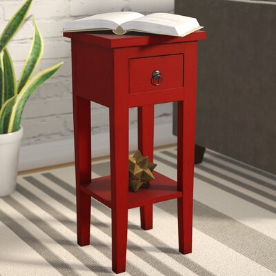 Eurydice End Table With Storage Color: Red