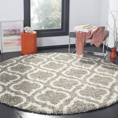 Melvin Gray/Beige Area Rug Rug Size: Round 7