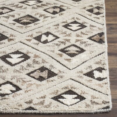 Eldert Hand-Knotted Gray Area Rug Rug Size: 6 x 9
