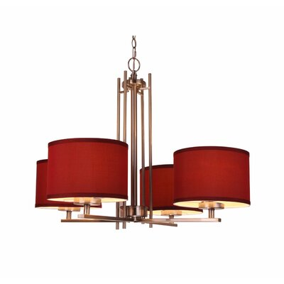 Juhasz Modern 4-Light Drum Chandelier Finish: Nickel, Shade Color: Maroon