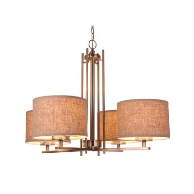 Juhasz Modern 4-Light Drum Chandelier Finish: Bronze, Shade Color: Beige