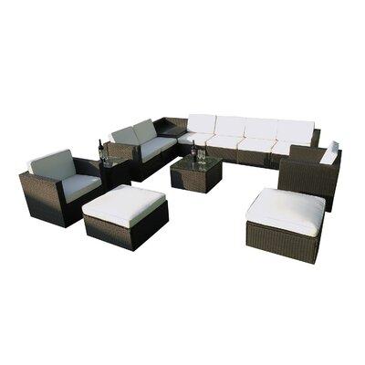 Geoghegan Wicker Patio 13 Piece Deep Seating Group with Cushion