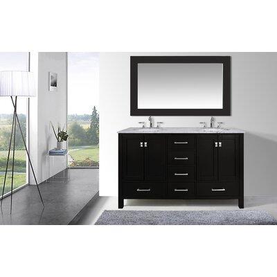 Ankney 60 Double Bathroom Vanity Set with Mirror Base Finish: Espresso