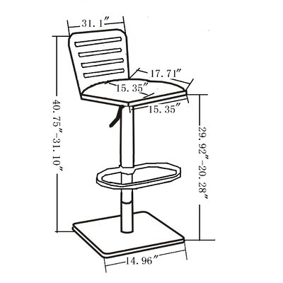 Struble Adjustable Height Swivel Bar Stool