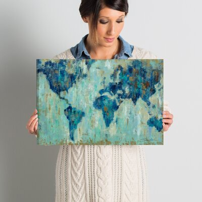 'Map of the World' Painting Print on Wrapped Canvas Size: 12