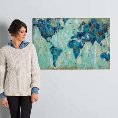 'Map of the World' Painting Print on Wrapped Canvas Size: 24