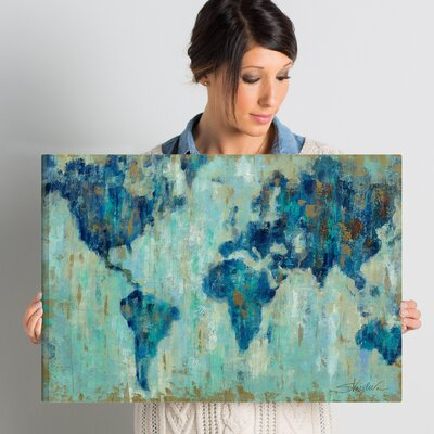 'Map of the World' Painting Print on Wrapped Canvas Size: 16