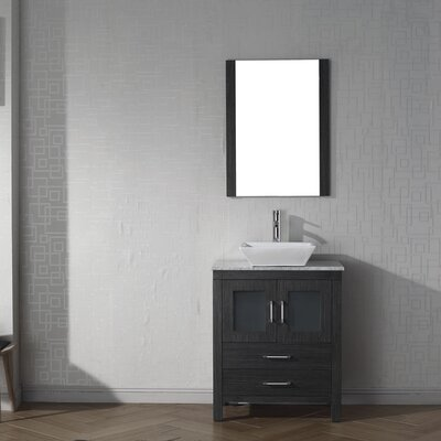 Cartagena 25 Single Bathroom Vanity Set with White Marble Top and Mirror Base Finish: Zebra Gray