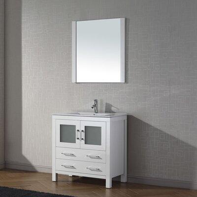Cartagena 30 Single Bathroom Vanity Set with Ceramic Top and Mirror Base Finish: White