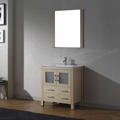 Cartagena 30 Single Bathroom Vanity Set with Ceramic Top and Mirror Base Finish: Light Oak