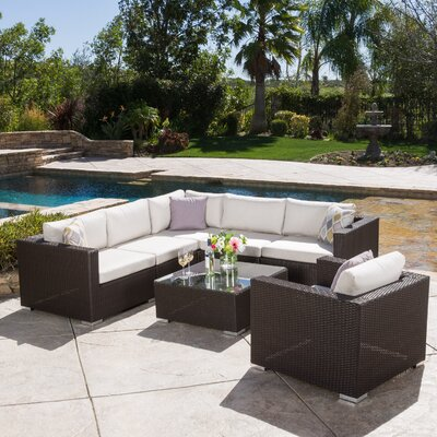 Strawn 7 Piece Sectional Seating Group Finish: Brown