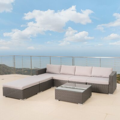 Nathen Aria Outdoor 7 Piece Sectional Seating Group with Cushion Fabric: Gray