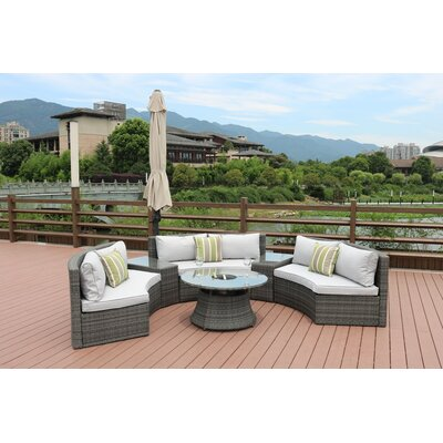 Sidwell 6 Piece Rattan Sectional Set with Cushions Frame Finish: Gray