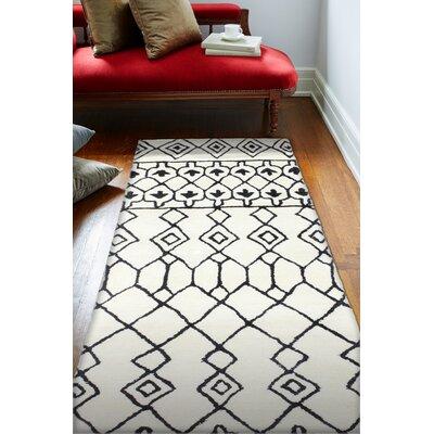 Divina Handmade Wool Ivory/Black Area Rug Rug Size: Runner 26 x 8