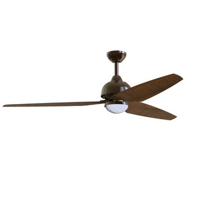 58 Brenda 3 Blade Ceiling Fan with Remote Finish: Oiled Bronze with Dark Cedar Blades