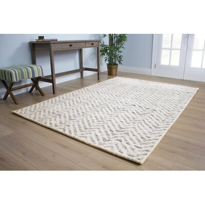 Crossman White Sophisticated Zags Area Rug Rug Size: 53 x 77
