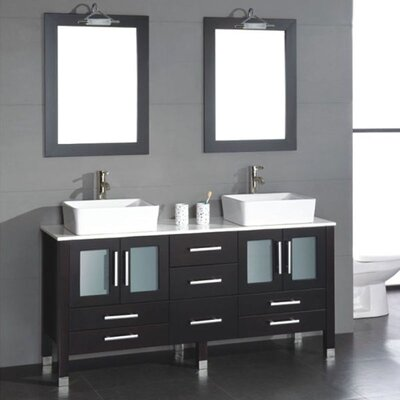 Meserve Solid Wood 71 Double Bathroom Vanity Set with Mirror
