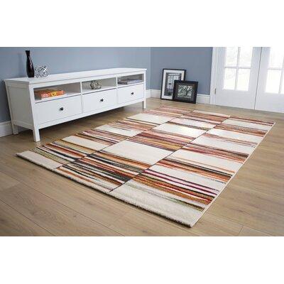 Greve Rustic Multi Lines Cream Area Rug Rug Size: 53 x 77