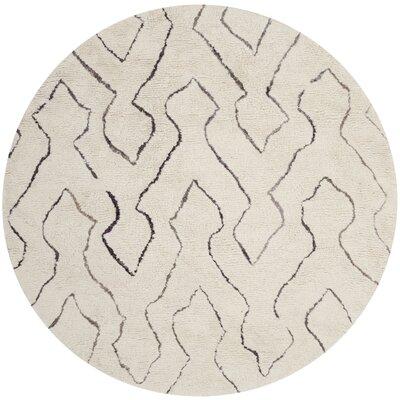 Elderton Ivory Area Rug Rug Size: Round 6