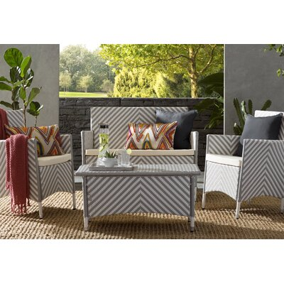 Mckeever 4 Piece Deep Seating Group with Cushions Finish: Grey / White