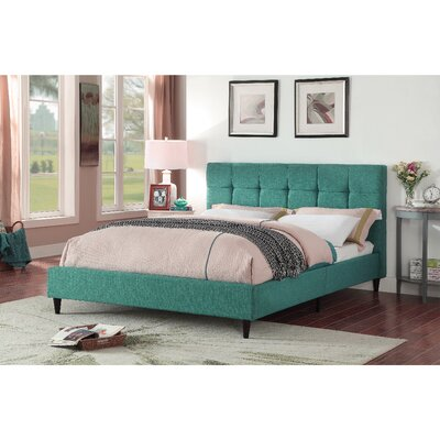 Horst Square Stitched Upholstered Platform Bed Size: Full, Color: Teal