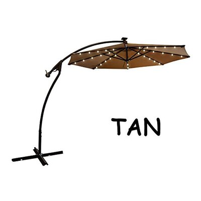 9 Chaparro Solar Powered LED Lights Illuminated Umbrella Color: Tan
