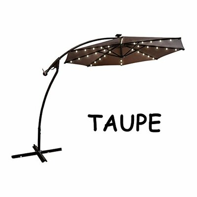 9 Chaparro Solar Powered LED Lights Illuminated Umbrella Color: Taupe