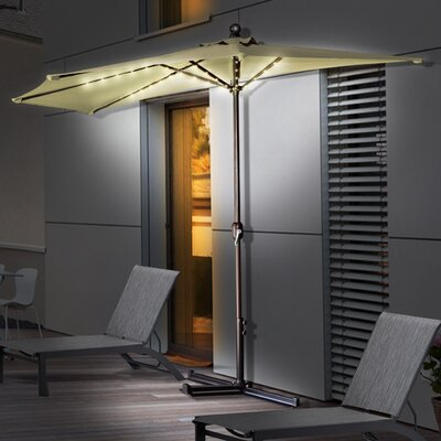 10 Couey Battery Operated LED Light Illuminated Market Umbrella Color: Beige