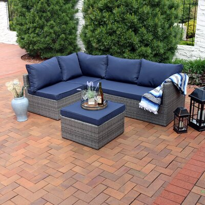 Stahl Wicker Rattan 4-Piece Patio Sofa Sectional Set with Cushions