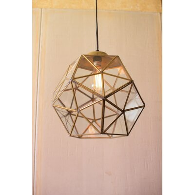 Edelman Glass and Metal Faceted Foyer Pendant
