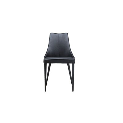 Bomar Genuine Leather Upholstered Dining Chair (Set of 2) Color: Black