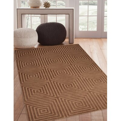 Tawney Hand-Knotted Gold/Brown Area Rug Rug Size: 5 x 8