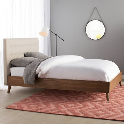 Smallwood Upholstered Platform Bed Upholstery: Light Beige, Size: Queen