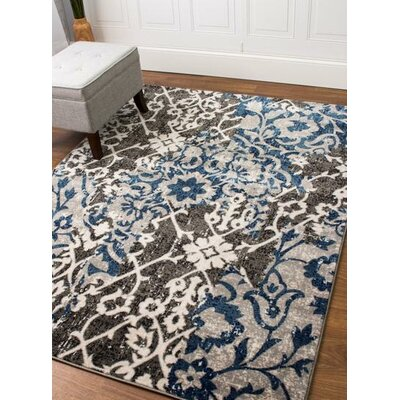 Rosie Transitional Ikat Distressed Gray/Blue Area Rug