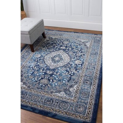 Rosie Traditional Medallion Distressed Blue/Ivory Area Rug