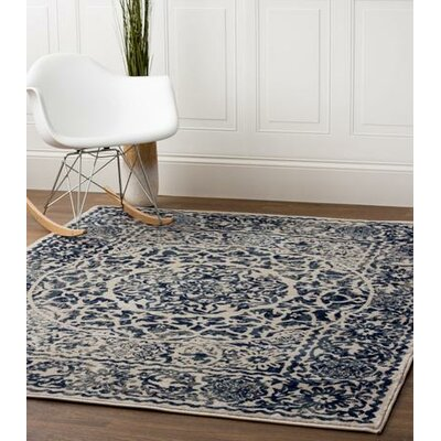 Rosie Transitional Medallion Distressed Ivory/Blue Area Rug