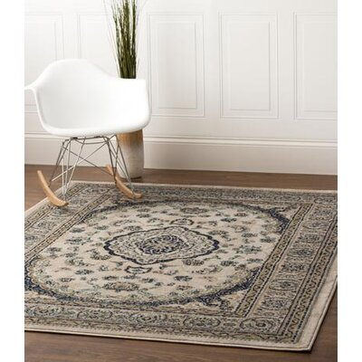 Rosie Traditional Medallion Distressed Ivory/Blue Area Rug