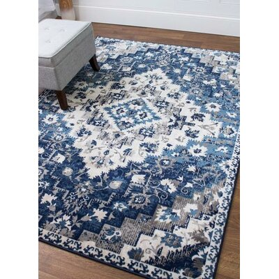 Rosie Southwestern Diamond Distressed Blue/Ivory Area Rug