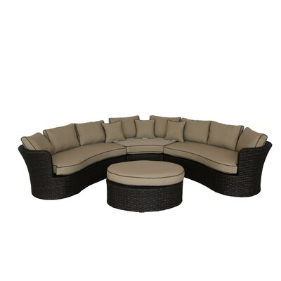 Seagle Curved 4 Piece Sofa Set with Cushion Fabric: Tan