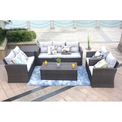 Medford 6 Piece Sectional Set with Cushions Frame Finish: Brown