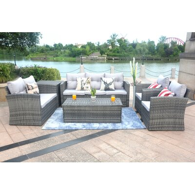 Medford 6 Piece Sectional Set with Cushions Frame Finish: Gray