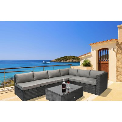 Fewell Sectional with Cushions Color: Black