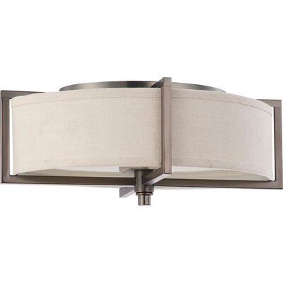 Benavidez 2-Light Flush Mount Finish / Shade Type / Bu Type: Hazel Bronze / Khaki Fabric / Fluorescent