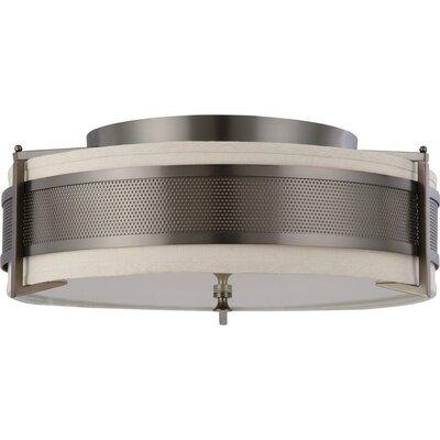 Ferriera Flush Mount Size / Finish / Shade Finish / Bulb Type: 8.5 H x 24 W / Hazel Bronze / Khaki  / Incand.