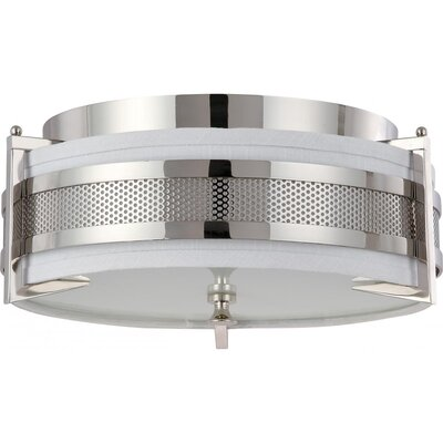 Ferriera Flush Mount Size / Finish / Shade Color / Bulb Type: 6.5 H x 16 W / Pol. Nickel / Gray / Incand.