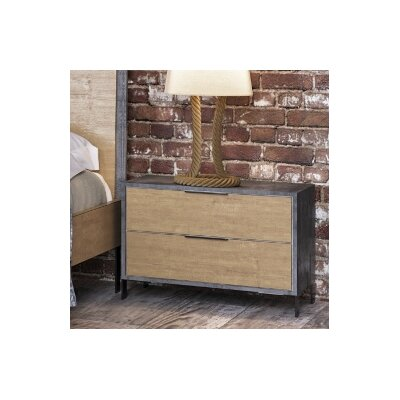 Lipscomb 2 Drawer Nightstand Finish: Light Walnut / Black